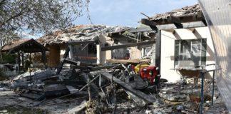 Haus im Zentrum Israels von Rakete getroffen. Foto Israelischer Polizeisprecher