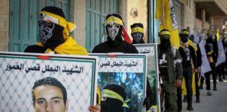 Palästinensische Demonstranten würdigen Terroristen. Foto Wisam Hashlamoun/Flash90
