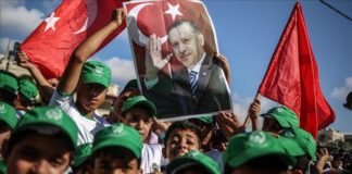 Pro-Erdogan Kundgebung in Gaza. Foto Qudspress
