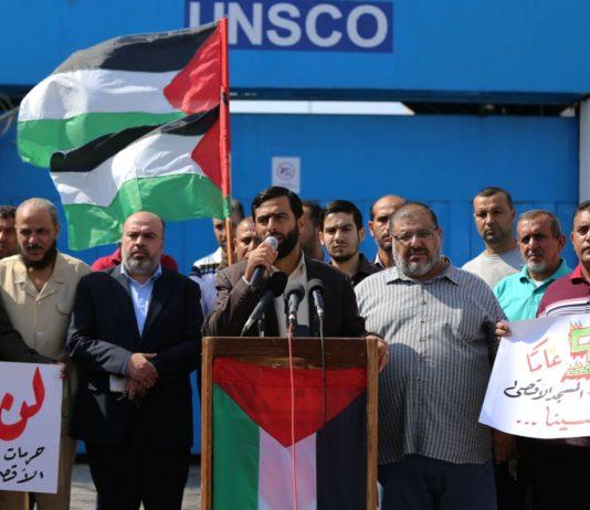 Mushir al Masri vor dem UN Gebäude in Gaza. Foto Felesteen