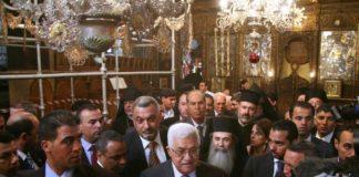 Mahmoud Abbas in der Geburtskirche in Bethlehem. Foto Najeh Hashlamoun/Flash90