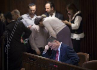 Knesset-Sprecher Yuli Edelstein während einer Plenarsitzung. Foto Yonatan Sindel/Flash90