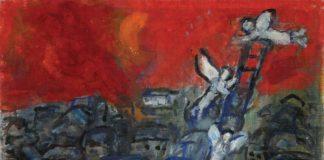 """""""Jakobsleiter"""" von Marc Chagall, Öl auf Leinwand, 22×27 cm, signiert. Foto Auktionshaus Tiroche www.tiroche.co.il"""