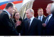 Russlands Präsident Vladimir Putin wird von Aussenminister Israel Katz empfangen. Foto GPO Israel