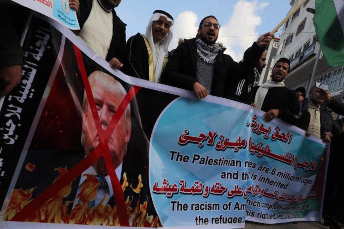 Demonstration in Gaza-Stadt gegen den Friedensplan für den Nahen Osten. Gaza, 28. Januar 2020. Foto Majdi Fathi/TPS