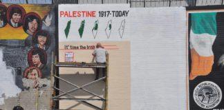 Ein pro-palästinensisches irisch-republikanisches Wandbild in Belfast, Nordirland. Foto Lena Voelk/TPS