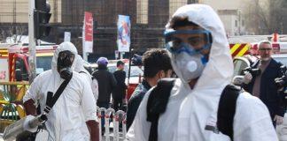 Operazioni di disinfezione nel quartiere di Sadeghiyeh, Iran. Foto Tasnim News Agency, CC BY 4.0, https://commons.wikimedia.org/w/index.php?curid=88016309