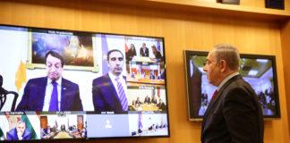 Premierminister Benjamin Netanjahu während einer Videokonferenz im Aussenministerium in Jerusalem mit europäischen Staats- und Regierungschefs, bei der die Herausforderungen und die Zusammenarbeit zwischen den Ländern im Umgang mit dem Coronavirus diskutiert wurden. 9. März 2020. Foto Yehonatan Valtser/TPS
