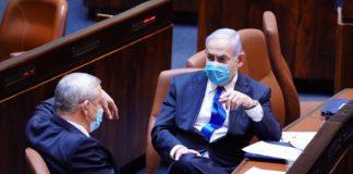 """Blau-Weiss-Partei-Vorsitzender und alternierender und zukünftiger Ministerpräsident Benny Gantz und der amtierende Ministerpräsident Benjamin """"Bibi"""" Netanjahu. Foto GPO"""