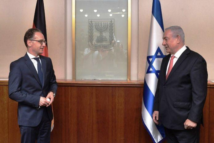 Der deutsche Aussenminister Heiko Maas und der israelische Ministerpräsident Benjamin Netanjahu bei ihrem Treffen in Jerusalem, 10. Juni 2020. Foto Koby Gideon / GPO