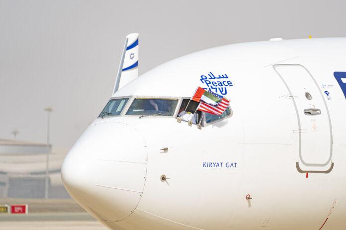 El Al-Flug LY971 nach Abu Dhabi mit der amerikanisch-israelischen Friedensdelegation. Abu Dhabi 31. August 2020. Foto WAM/TPS