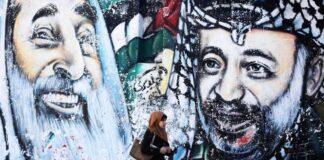 Ein Graffiti des verstorbenen palästinensischen Führers Jassir Arafat am 11. Jahrestag seines Todes, am 11. November 2015 in Gaza-Stadt. Foto imago images / ZUMA Press