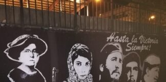 """Wandbild der """"Revolutionäre"""" (Emma Goldman, Leila Khaled, Fidel Castro, Che Guevara und Hugo Chávez) in der baskischen Gemeinde Hernani. Foto Jove, CC0, https://commons.wikimedia.org/w/index.php?curid=74209068"""