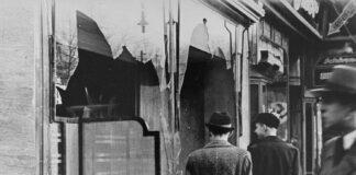 Zerstörtes Geschäft der Berliner Schirmmanufaktur Lichtenstein & Co am 10. November 1938 in Berlin. Foto PD United States Holocaust Memorial Museum, courtesy of National Archives and Records Administration, College Park