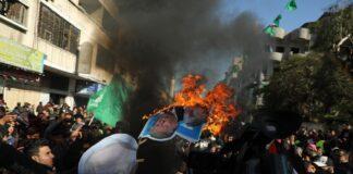 Demonstration gegen den Nahost-Friedensplan in Gaza am 31. Januar 2020. Foto Majdi Fathi/TPS