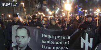 Gedenkmarsch an Nazi-Kollaborateur Stepan Bandera am Neujahrstag 2021 in Kiew. Foto Screenshot Ruptly