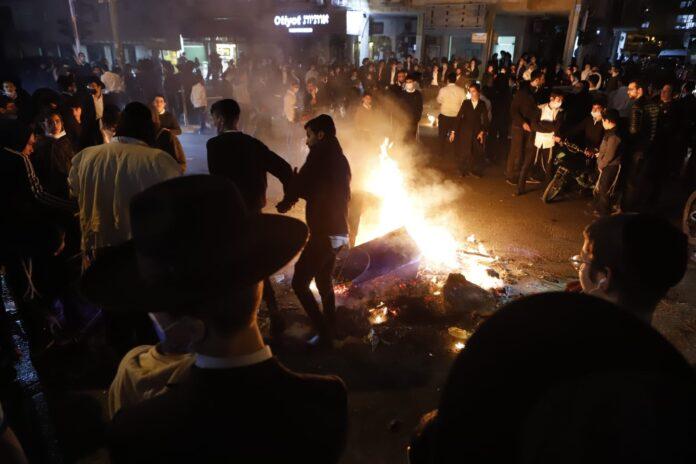 Ausschreitungen in Bnei-Brak am 24. Januar 2021. Foto Eitan Elhadez-Barak/TPS