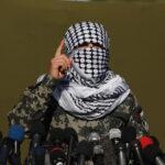 Ein Hamas-Sprecher an einer Pressekonferenz während eines gemeinsamen Manövers von Hamas, Islamischem Dschihad und 11 anderen Terrorgruppen, das im Gazastreifen stattfand. Gaza, 29. Dezember 2020. Foto Majdi Fathi/TPS