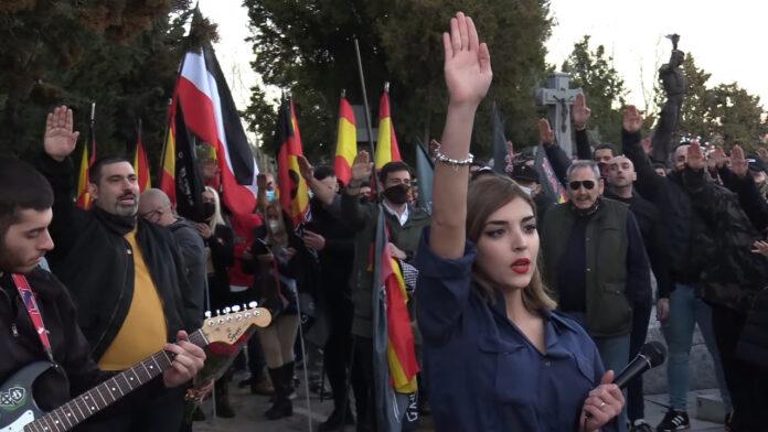 Rede anlässlich des Neonazi-Marsches in Madrid am 13. Februar 2021. Foto Screenshot Youtube