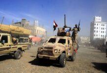 Huthi-Kämpfer sammeln sich in Sanaa. Foto IMAGO / Xinhua