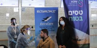 Am internationalen Ben-Gurion-Flughafen werden COVID-19-Schnelltests für ankommende Passagiere eingesetzt. Der Test kann das Virus innerhalb von 2 bis 15 Minuten nachweisen. Lod, 8. März 2021. Foto Eitan Elhadez-Barak/TPS