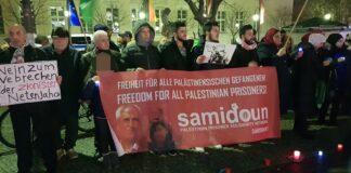 Samidoun Kundgebung in Berlin im Februar 2020. Foto Samidoun / Creative Commons Attribution-ShareAlike 4.0 International License.