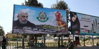 Plakat des Hamas-Führers im Gazastreifen Yahya Sinwar am 16. April 2020. Foto IMAGO / ZUMA Wire