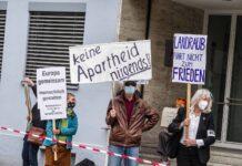 Anti-Israel Aktivisten vor dem israelischen Generalkonsulat in München. Foto IMAGO / ZUMA Wire