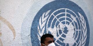 Vor dem Hauptsitz des Hilfswerks der Vereinten Nationen für Palästina-Flüchtlinge im Nahen Osten (UNRWA) in Gaza-Stadt. 17. November 2020. Foto Majdi Fathi/TPS