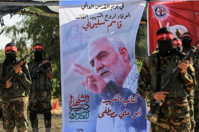 Mitglieder der Terrororganisation Volksfront für die Befreiung Palästinas (PFLP) nehmen an einer militärischen Übung in Gaza-Stadt teil. Foto IMAGO / ZUMA Wire