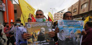 Anhänger der Fatah-Bewegung protestieren in Deir Al-Balah, im Gazastreifen am 24. April 2021. Foto IMAGO / ZUMA Wire