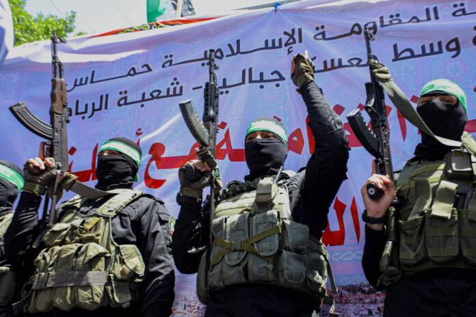Mitglieder der Ezz-Al Din Al-Qassam Brigaden am 07. Mai 2021 in Jabalia im Norden des Gazastreifens. Foto IMAGO / ZUMA Wire