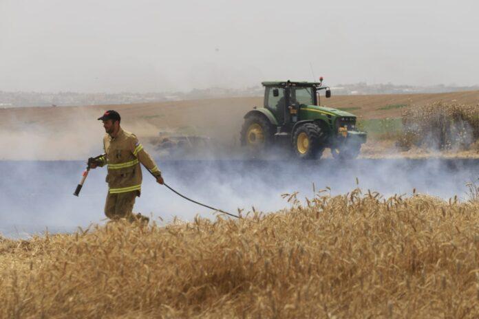 Feuerwehrleute löschen mit Hilfe von Traktoren Brände, welche durch Brandballone aus dem Gaza-Streifen verursacht wurden. Foto Eitan Elhadez-Barak/TPS