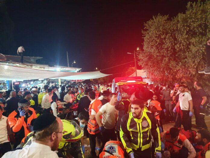 Der Schauplatz des Unglücks auf dem Berg Meron im Norden Israels während des jüdischen Feiertags Lag B'Omer. Meron, 30. April 2021. Foto Yaron Blustein/TPS