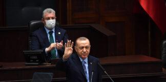 Der türkische Präsident Recep Tayyip Erdogan spricht vor dem Parlament in Ankara, Türkei, im Januar 2021. Foto IMAGO / Depo Photos
