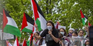Die Kongressabgeordnete Rashida Tlaib an einer Kundgebung in Dearborn USA am 16. Mai 2021. Foto IMAGO / ZUMA Wire