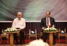 General Abbas Kamel, Ägyptens Geheimdienstchef (rechts) mit Yahya Sinwar dem Hamas Chef in Gaza (links) am 31. Mai 2021. Foto IMAGO / ZUMA Wire