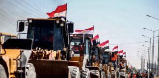 Ägypten entsandte einen Hilfskonvoi mit Baggern, Lastwagen und Kränen für den Wiederaufbau des Gazastreifens. Rafah-Grenzübergang zwischen Ägypten und Gaza am 4. Juni 2021. Foto IMAGO / ZUMA Wire