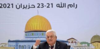Der palästinensische Präsident Mahmoud Abbas während der Sitzung des Fatah-Rates in Ramallah am 21. Juni 2021. Foto IMAGO / ZUMA Wire