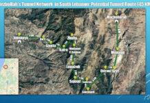 Die Tunnelroute der Hisbollah im Südlibanon. Foto Screenshot Bericht Alma Research and Education Center
