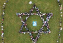 Menschlicher Davidstern am Israel-Freundestag. Foto Screenshot Video Sächsische Israelfreunde e.V.