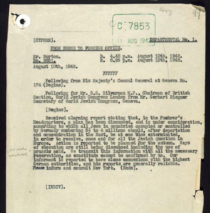 Das Originaltelegramm von Riegner. Foto The National Archives UK - Riegner TelegramUploaded by oaktree_b, Public Domain, https://commons.wikimedia.org/w/index.php?curid=20976759