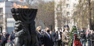 Präsident Andrzej Duda und seine Frau Agata Kornhauser-Duda nahmen am 78. Jahrestag des Aufstands im Warschauer Ghetto teil, 19. April 2021. Foto IMAGO / newspix