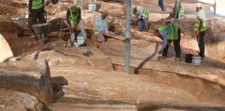 Ein rund 2'000 Jahre alter Steinbruch, der im Jerusalemer Stadtteil Har Hotzvim entdeckt wurde. Foto Shai Halevi, Israelische Antikenbehörde