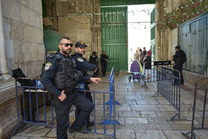 Israelische Polizei in der Jerusalemer Altstadt. Foto Maayan Berrebi/TPS