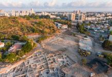Ausgrabungen in Yavneh. Luftaufnahme. Foto Assaf Peretz Israelische Antiquitätenbehörde