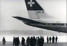 Der El-Al-Prozess: Rekonstruktion des Anschlags. Eine Swissair DC-8 zeigt die El Al-Maschine, auf die am 18. Februar 1969 ein Anschlag verübt wurde. Foto IMAGO / ZUMA/Keystone